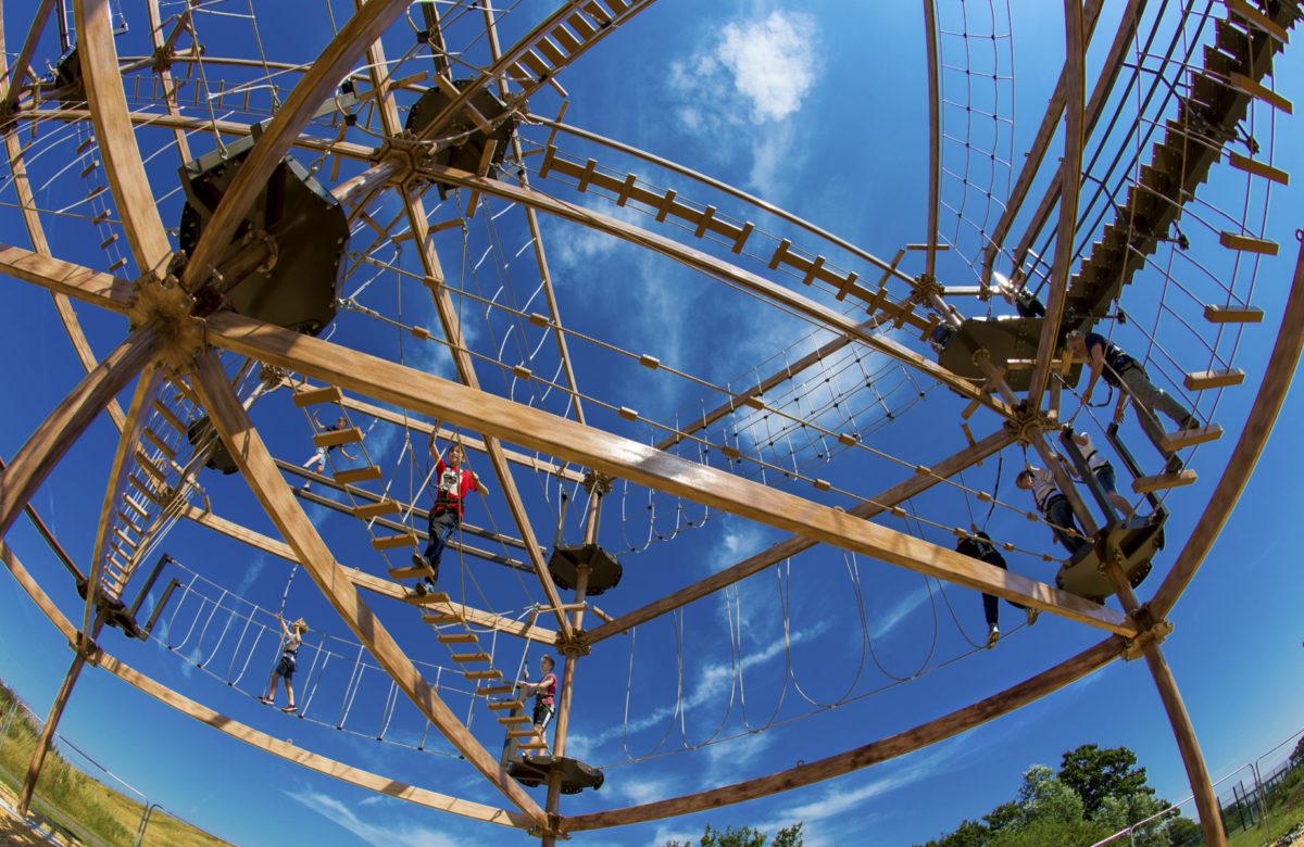 People enjoying the apparatus at Sky Ropes