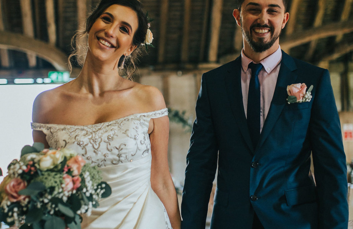 The bridge and groom smiling