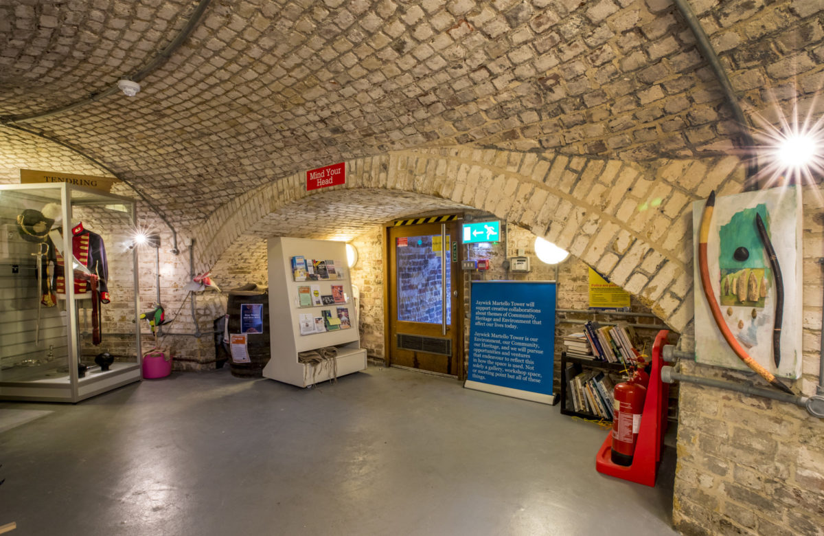 Objects on display at Jaywick Martello Tower