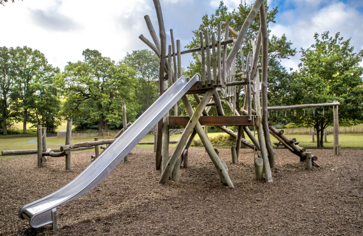 A slide at an outdoor adventure playground