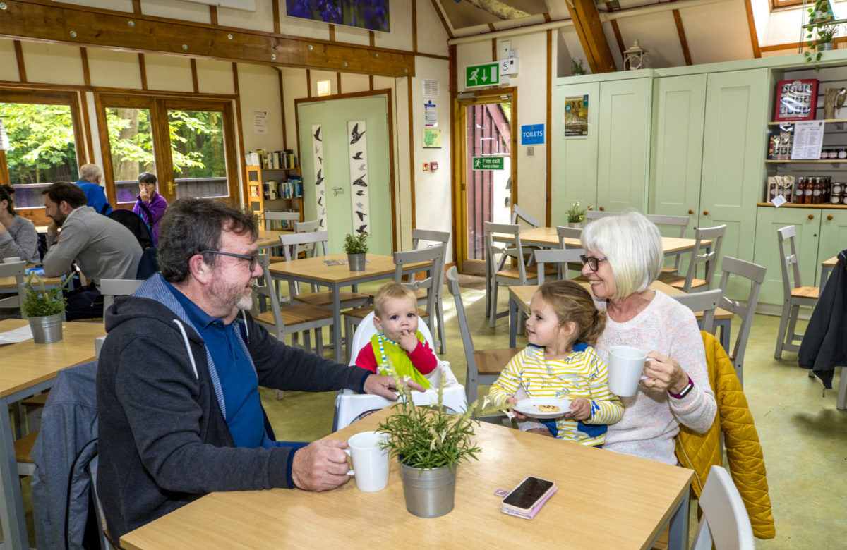 Grandparents and grandchildren enjoying a drink in a cafe