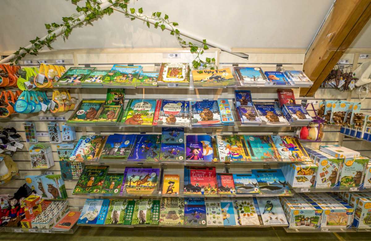 A gift shop displaying a range of books