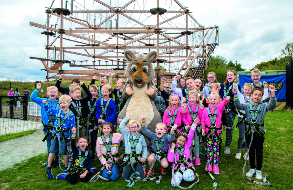 A large group of children at Sky Ropes