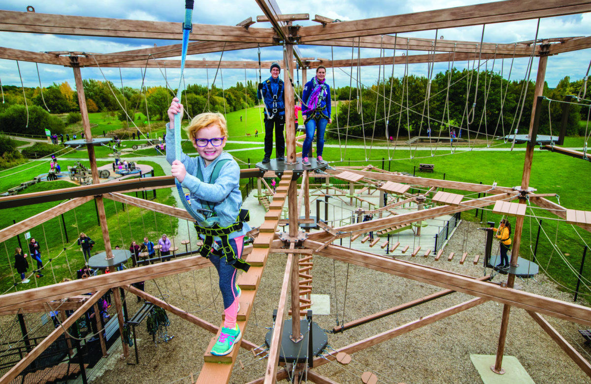 Children climbing on Sky Ropes