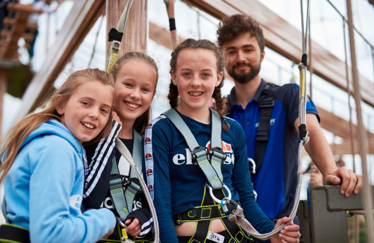 Children getting ready to climb at Sky Ropes