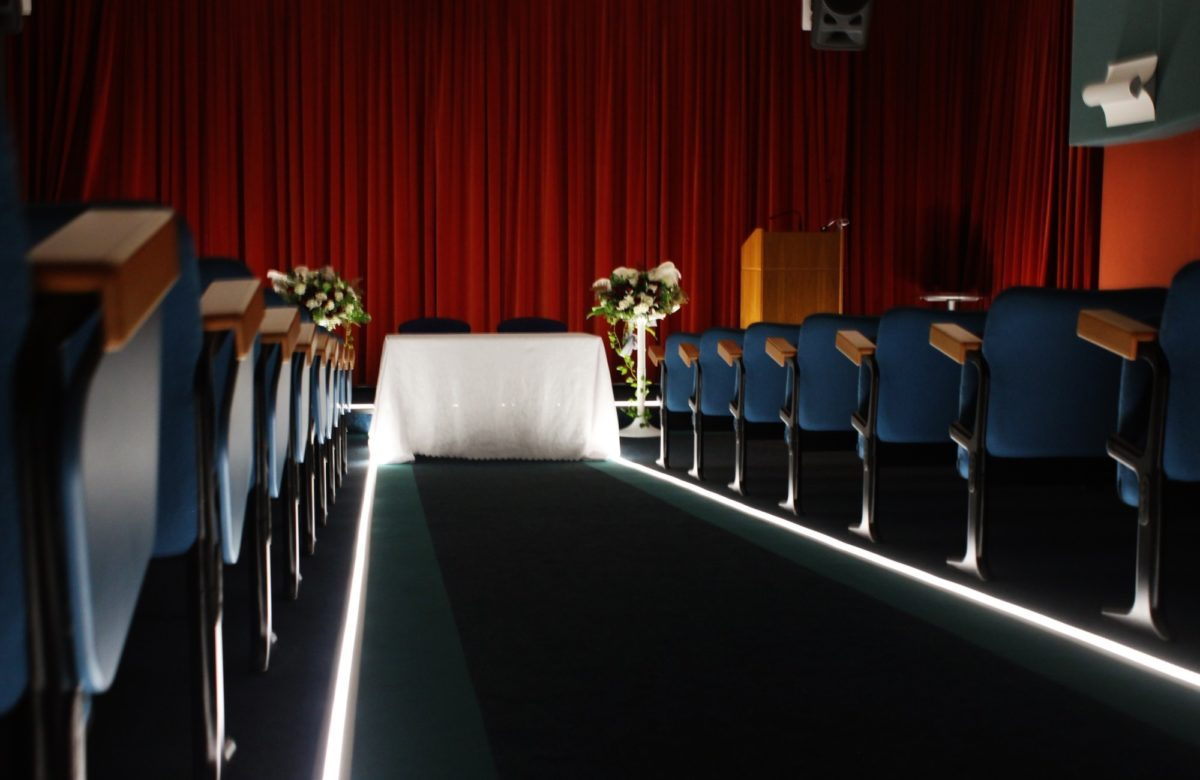 The wedding venue and seating at Essex Record Office