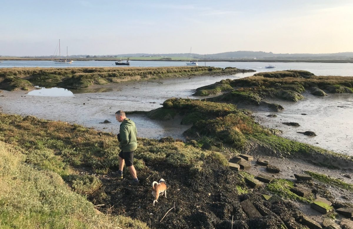 Man and dog at low tide on river Crouch
