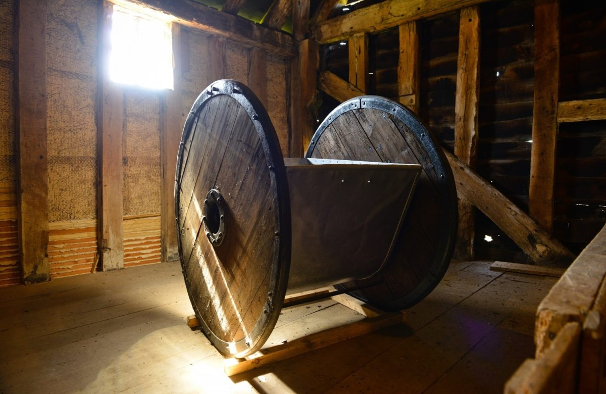 Ancient farming equipment on display at Cressing Temple Barns