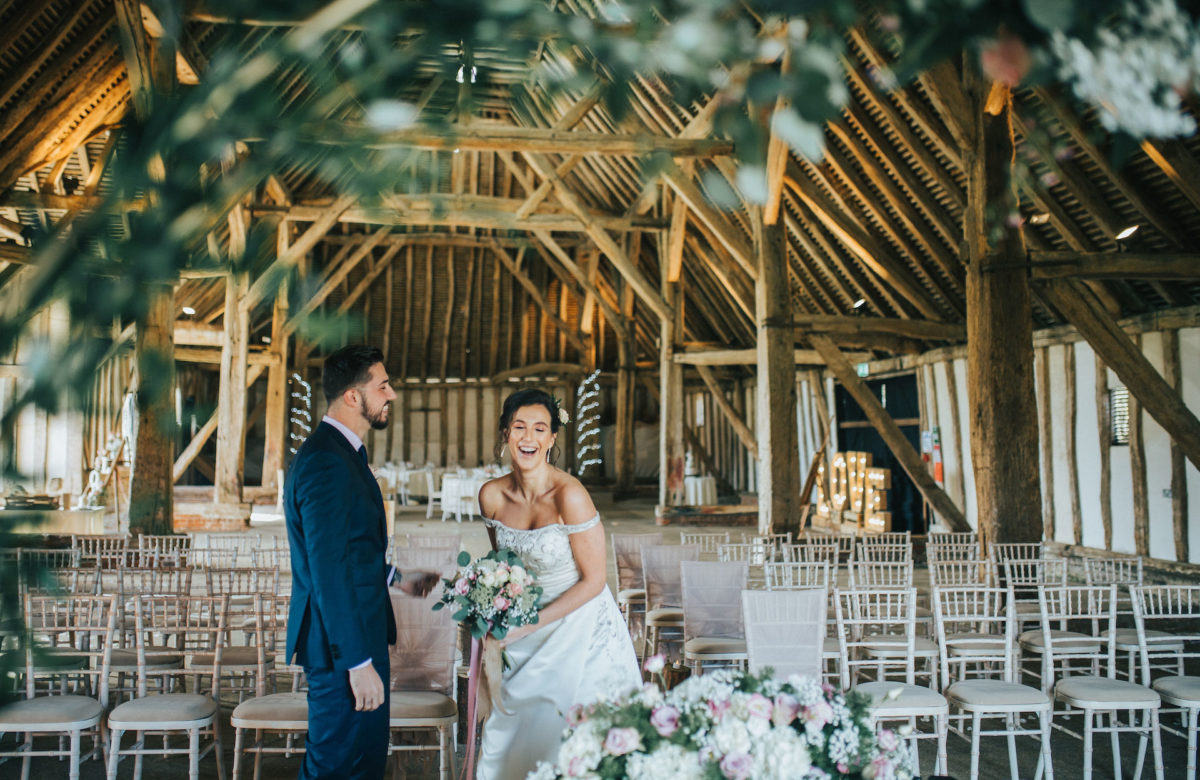 The bride and groom in their wedding venue