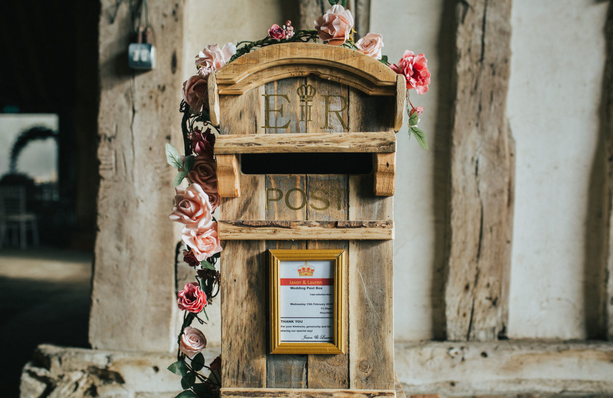 Post box for gifts and cards at a wedding