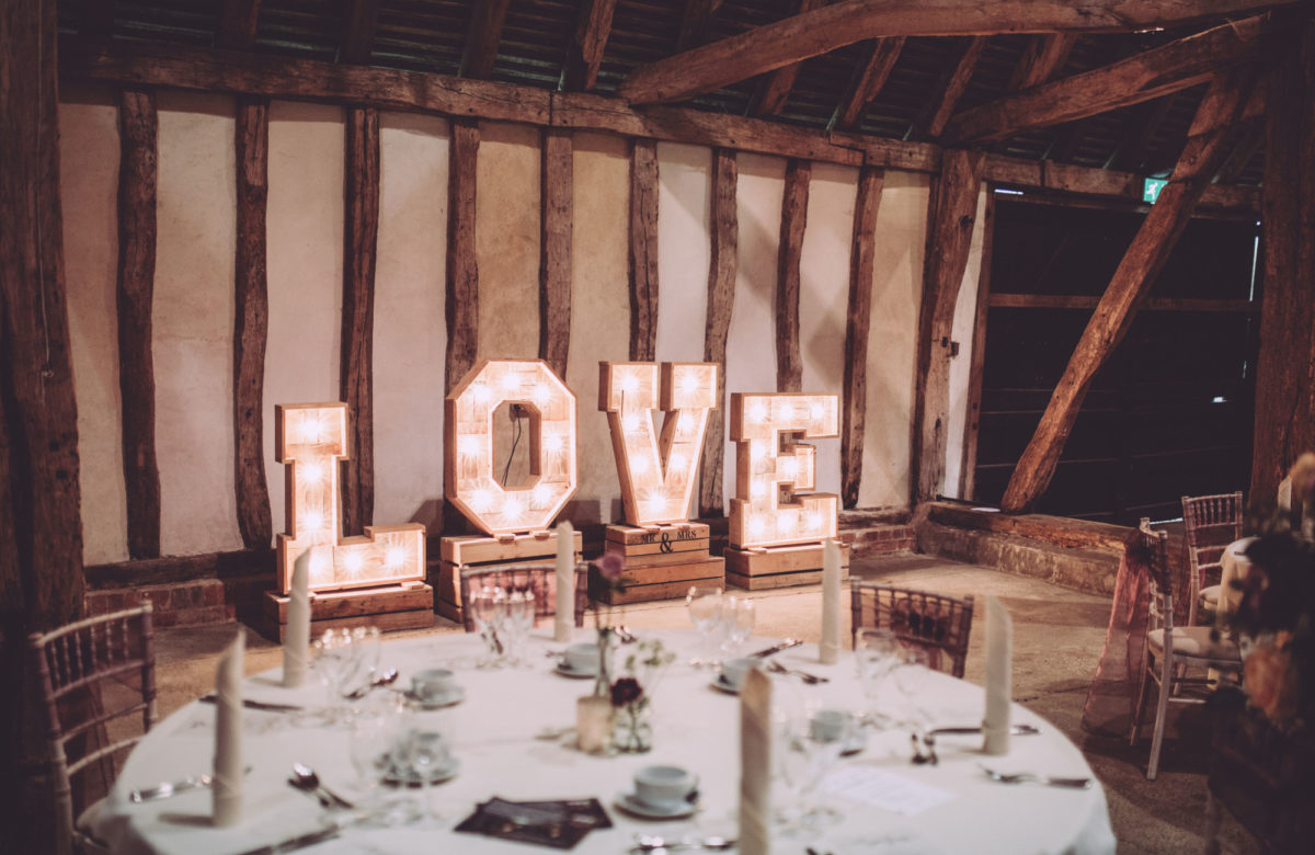 Giant love sign at wedding venue