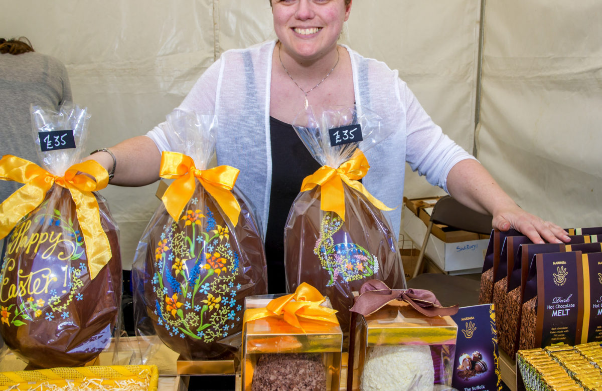 Lady with choclate eggs and products