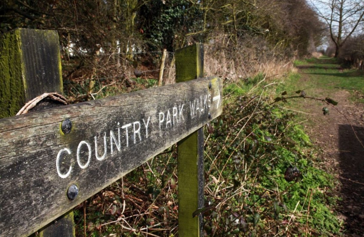 A wooden sign saying Country Park
