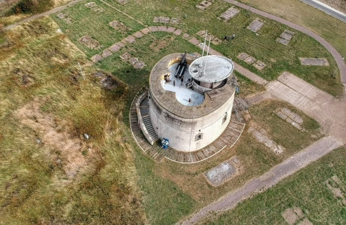 Aerial shot of Jaywick Martello Tower