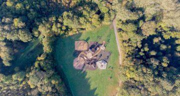 A high aerial shot of an adventure playground
