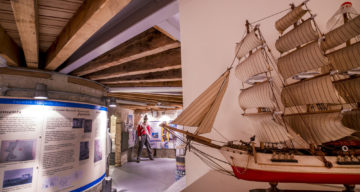 A model ship on display at Jaywick Martello tower