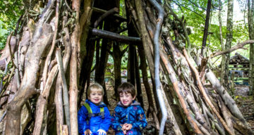 Two boys sitting in a forest den