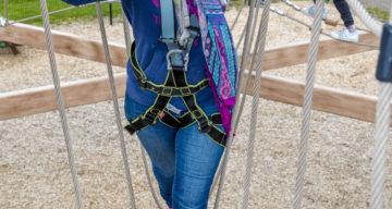 A lady enjoying Sky Ropes