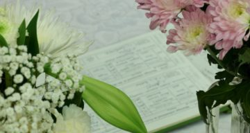 The wedding register and flowers
