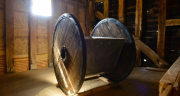 Ancient farming equipment on display at Cressing Temple Barns