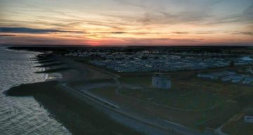 Aerial shot of Jaywick Sands at night