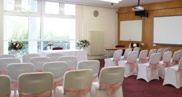 The wedding venue and seating at Essex Record Office during the day