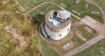 Aerial shot of Jaywick Martello Tower