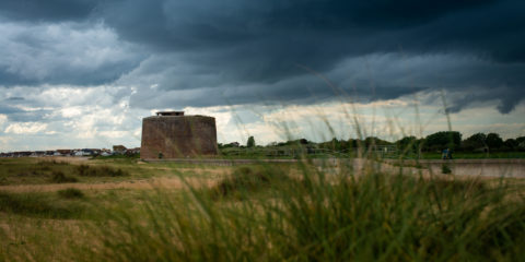 Jaywick Martello Tower exterior on a cloudy day