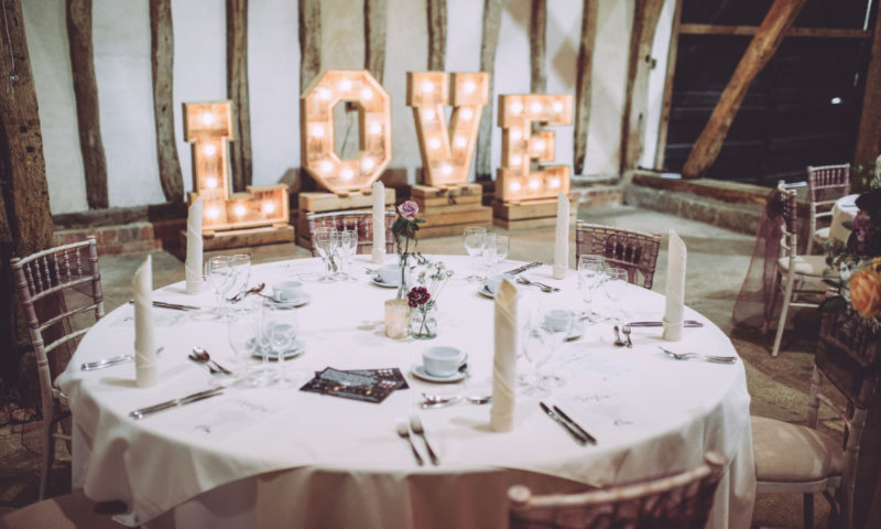 A table set for a wedding celebration