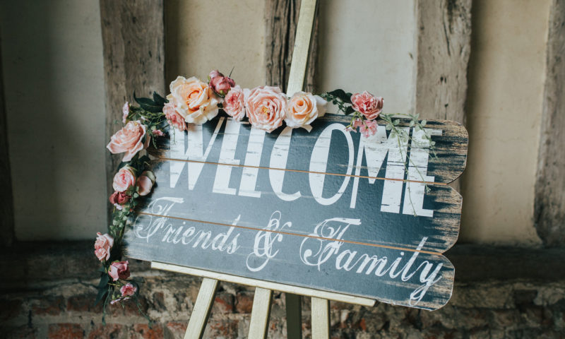 A sign welcoming guests to a wedding